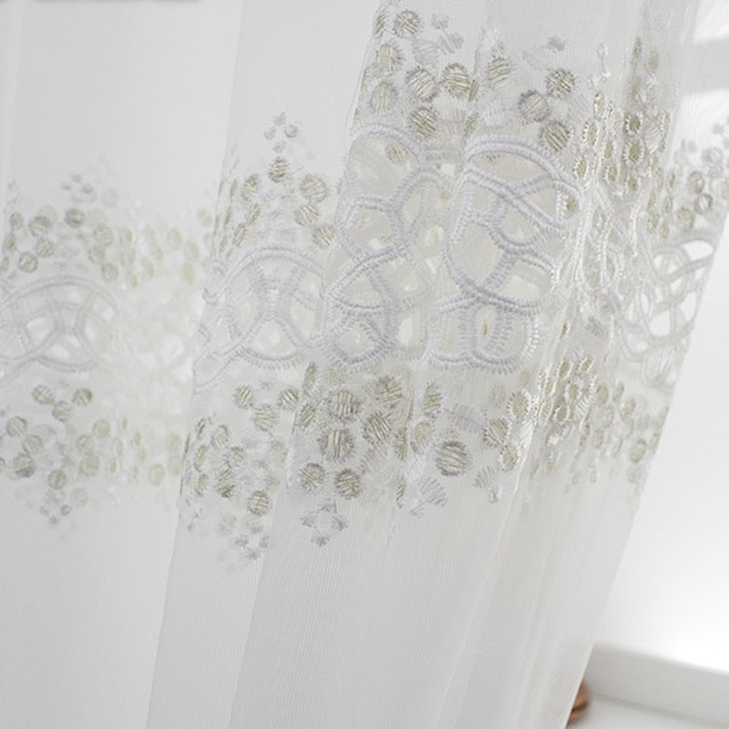 Luxury Geometric Embroidery Tulle Window Curtains