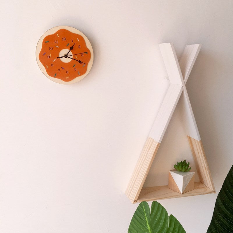 Nordic Donut Shaped Wall Clock Cartoon Silent Mute Clocks Kids Room Decoration