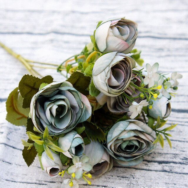 10 Artificial head tea rose silk flowers