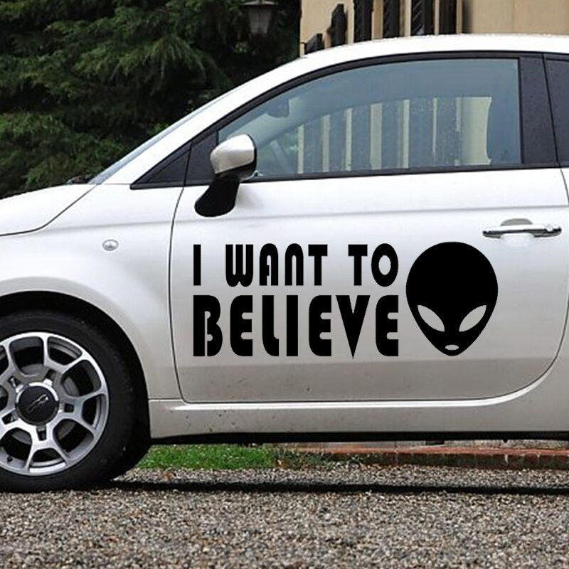 58  x 22.56cm 2 x Funny I Want To Believe Alien (one For Each Side) Sticker For Car Door Side Truck Window Vinyl Decals