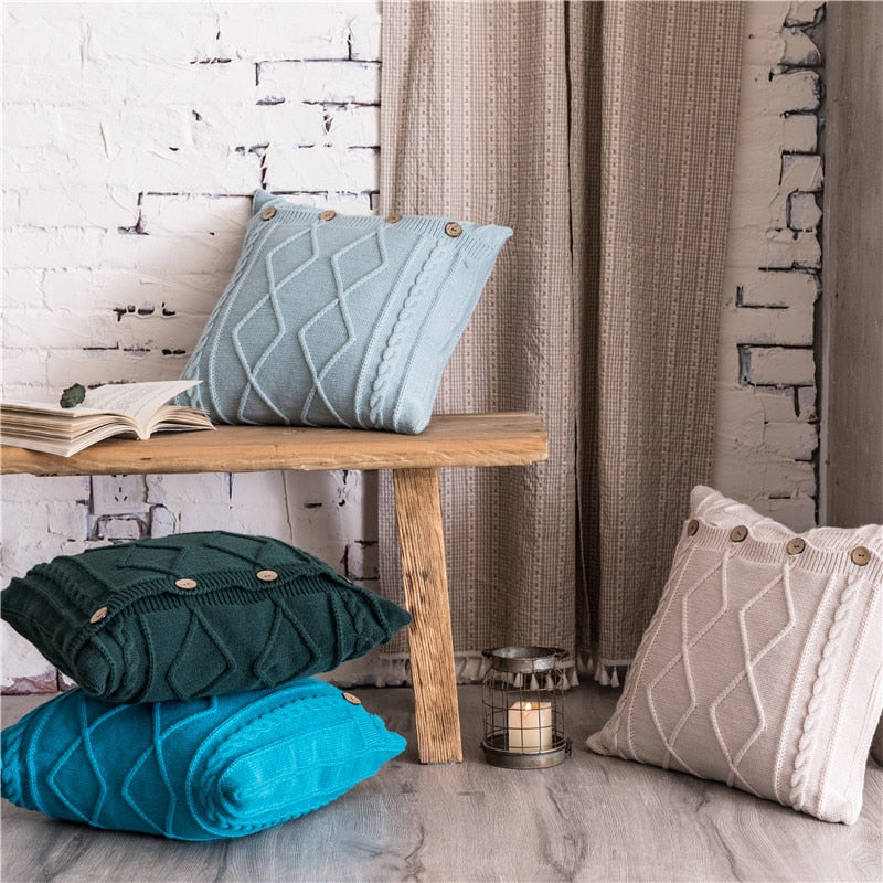 "18""x18"" Double Cable Knit Diamond Cushion Nordic Solid Pillow Cover 45cm*45cm"