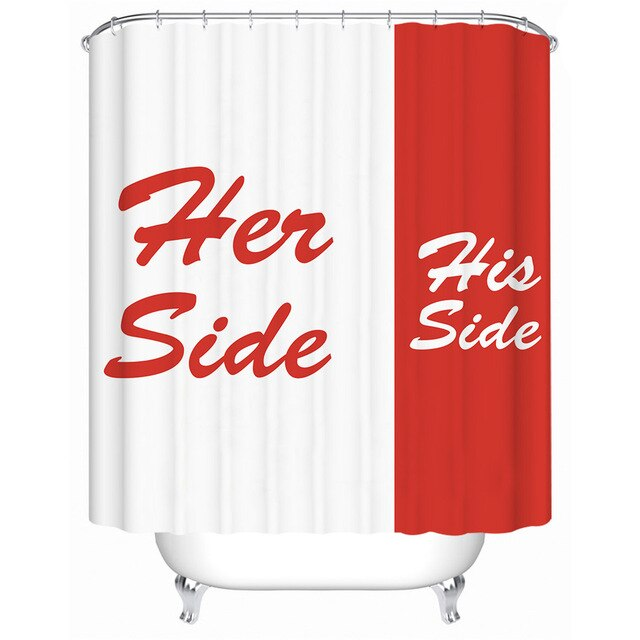 His & Her Side Shower Curtain For Couples