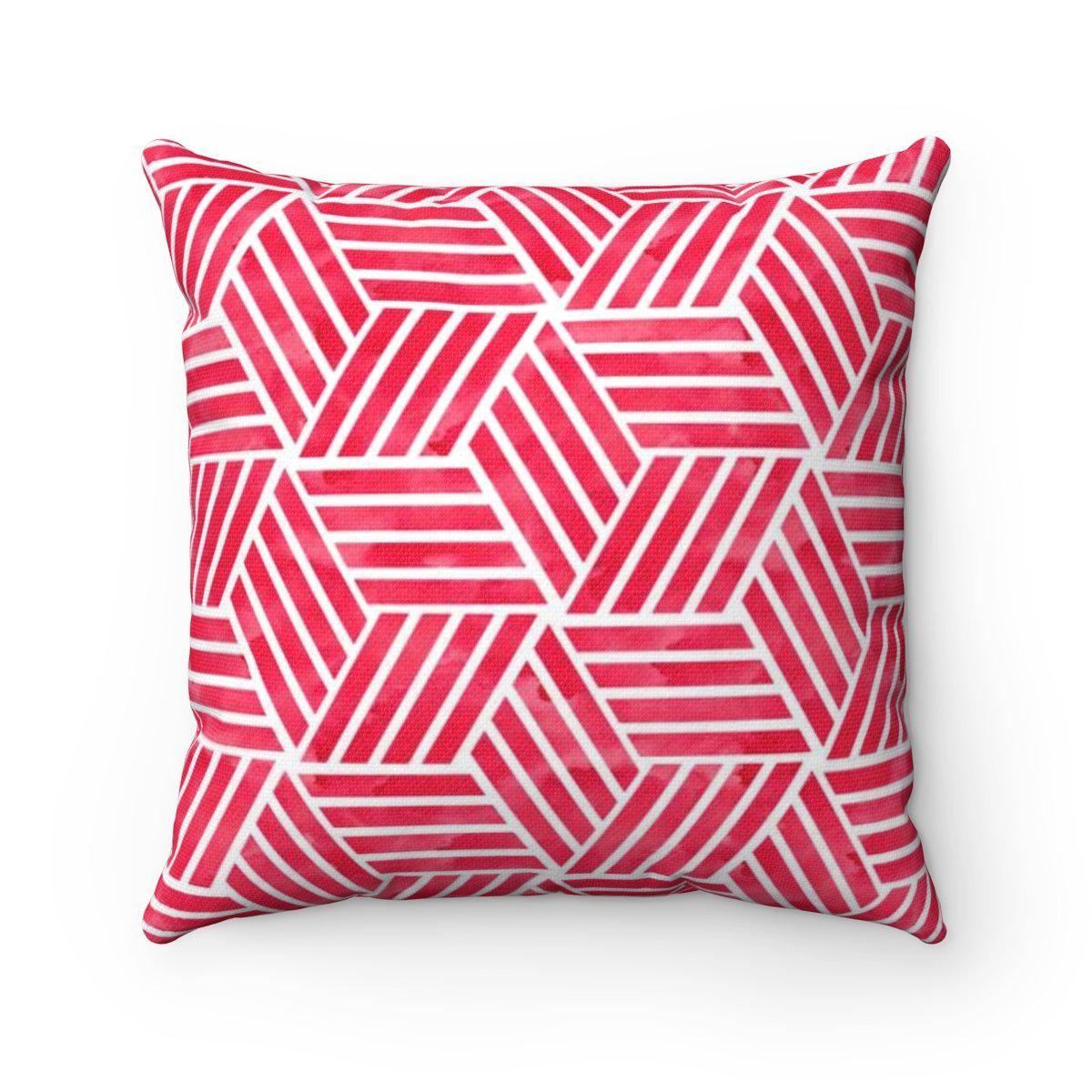 Red geometric decorative cushion cover-Home Decor - Decorative Accents - Pillows & Throws - Decorative Pillows-Maison d'Elite-14x14-Très Elite