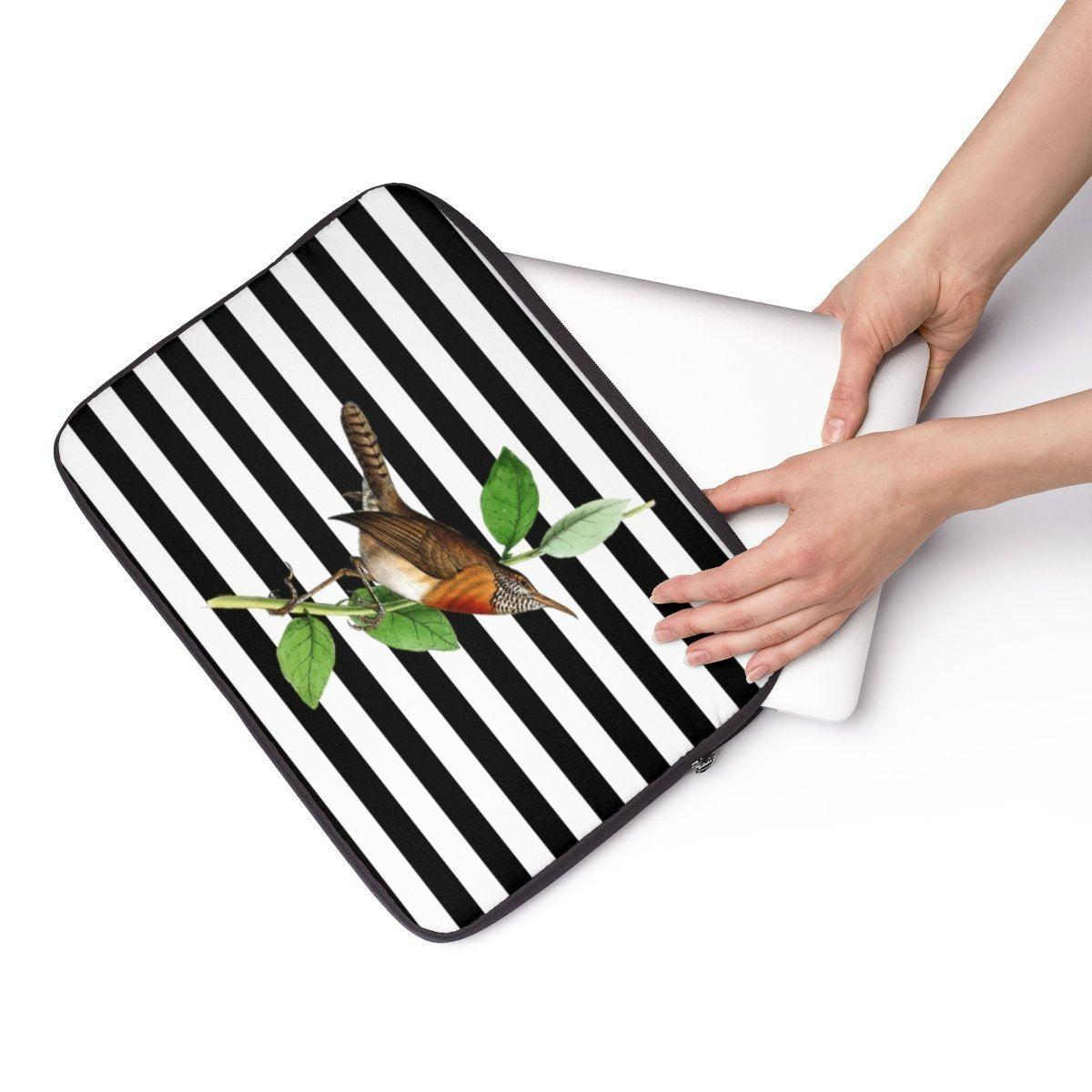 "Striped bird Laptop Sleeve-Tech - Accessories - Laptop Sleeves-Printify-12""-Très Elite"