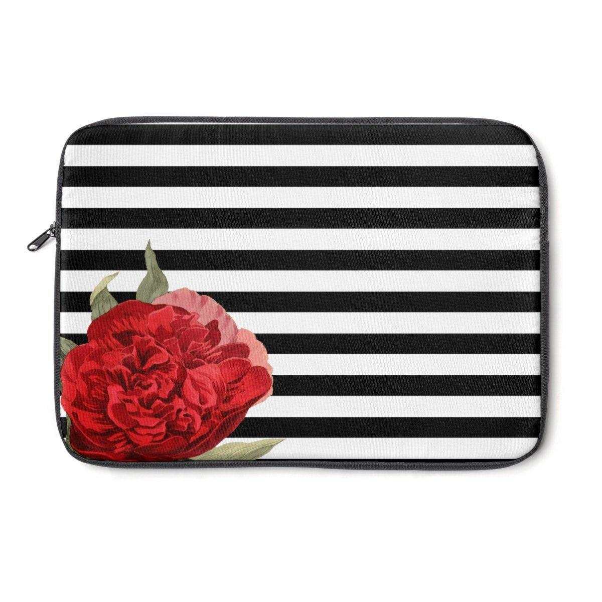 Striped camellia Laptop Sleeve-Tech - Accessories - Laptop Sleeves-Printify-Très Elite