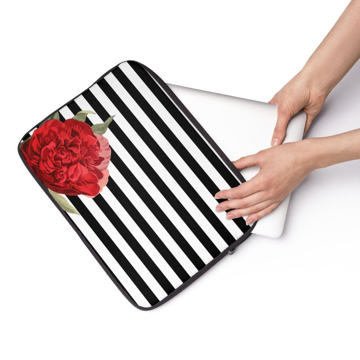 "Striped camellia Laptop Sleeve-Tech - Accessories - Laptop Sleeves-Printify-13""-Très Elite"