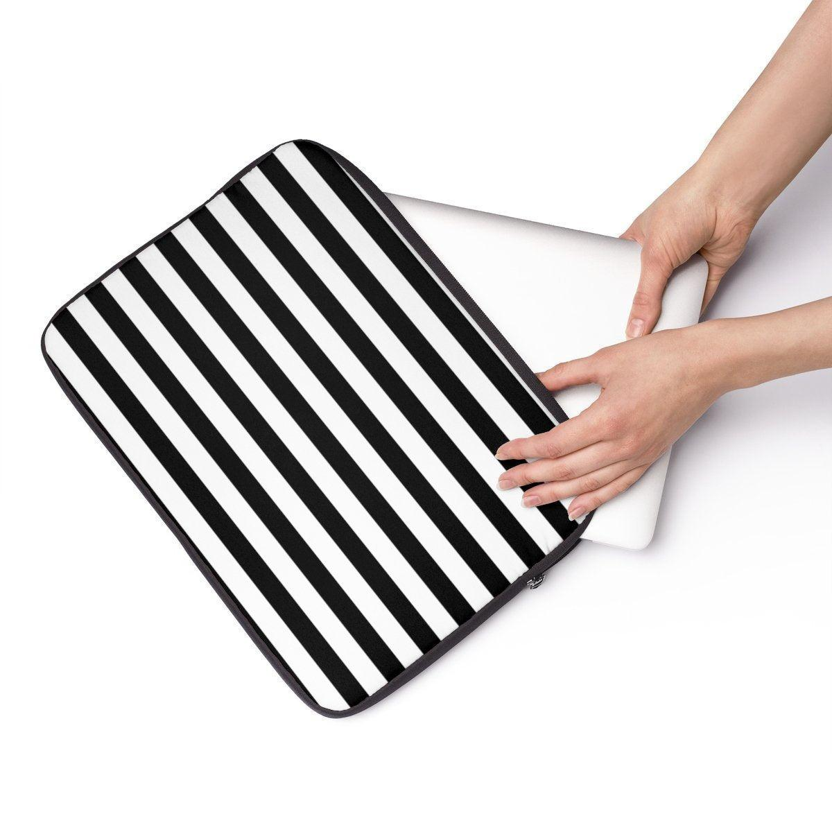 "Striped floral Laptop Sleeve-Tech - Accessories - Laptop Sleeves-Printify-12""-Très Elite"