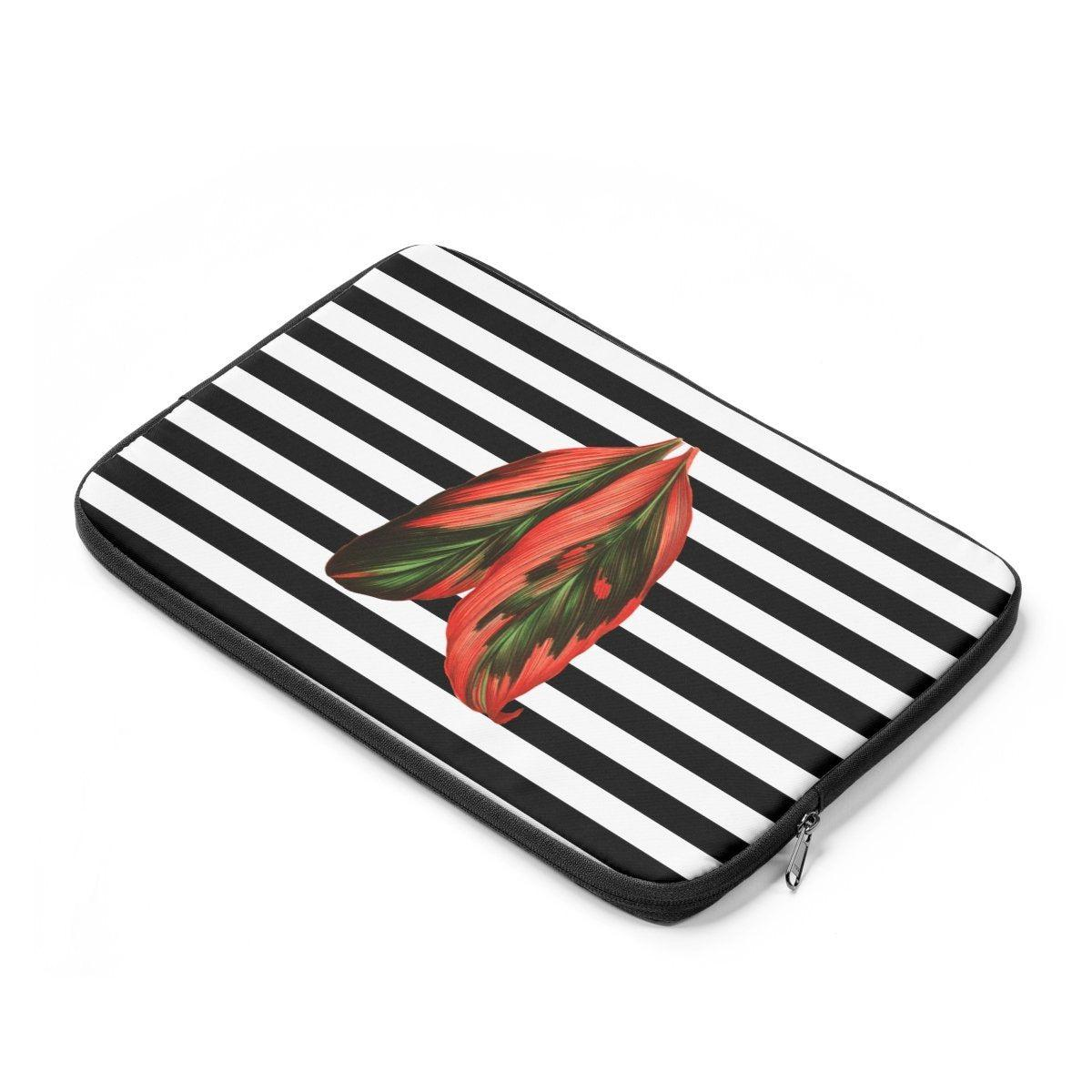 Striped jungle leave Laptop Sleeve-Tech - Accessories - Laptop Sleeves-Printify-Très Elite