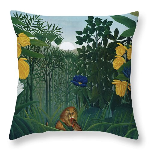 The Repast of the Lion by Henri Rousseau  - Throw Pillow