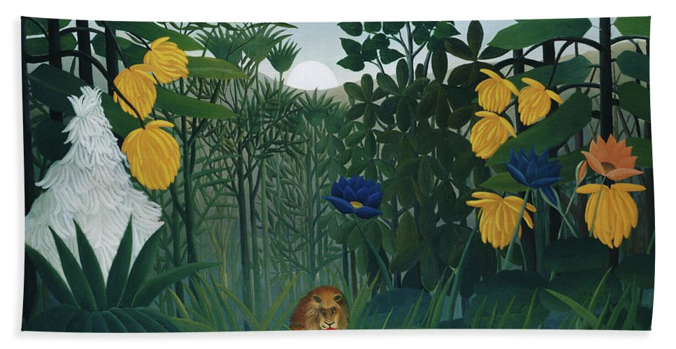 The Repast of the Lion by Henri Rousseau  - Beach Towel