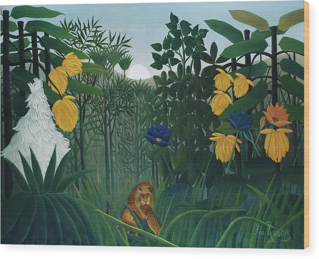 The Repast of the Lion by Henri Rousseau  - Wood Print