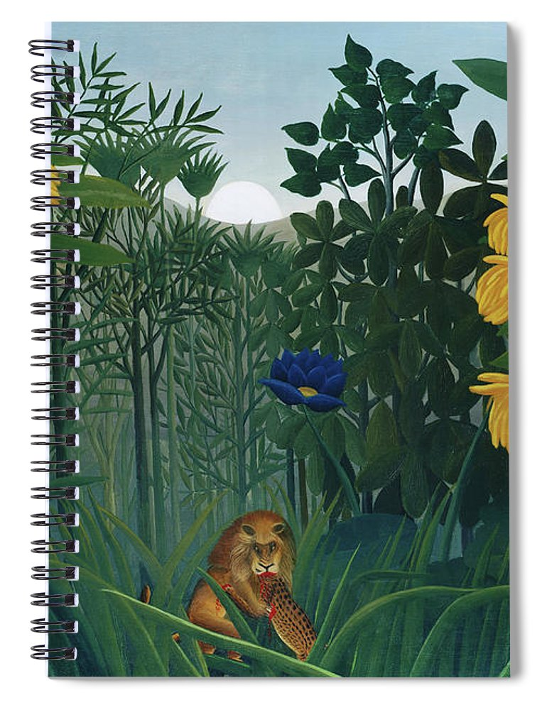 The Repast of the Lion by Henri Rousseau  - Spiral Notebook