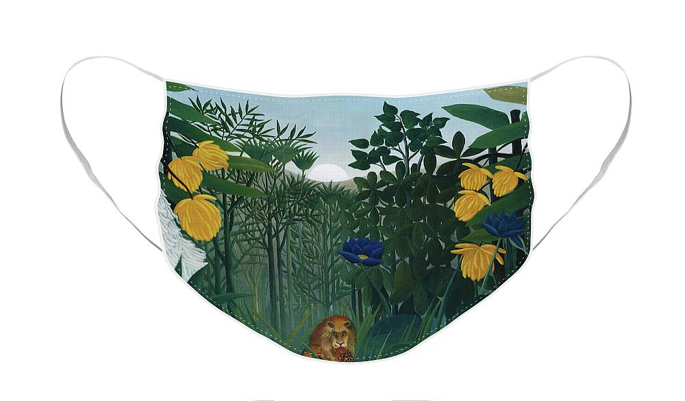 The Repast of the Lion by Henri Rousseau  - Face Mask