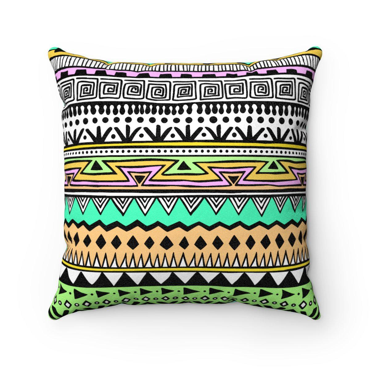Turquoise Faux suede 2 in 1 tribal decorative pillow w/insert-Home Decor - Decorative Accents - Pillows & Throws - Decorative Pillows-Maison d'Elite-14x14-Très Elite