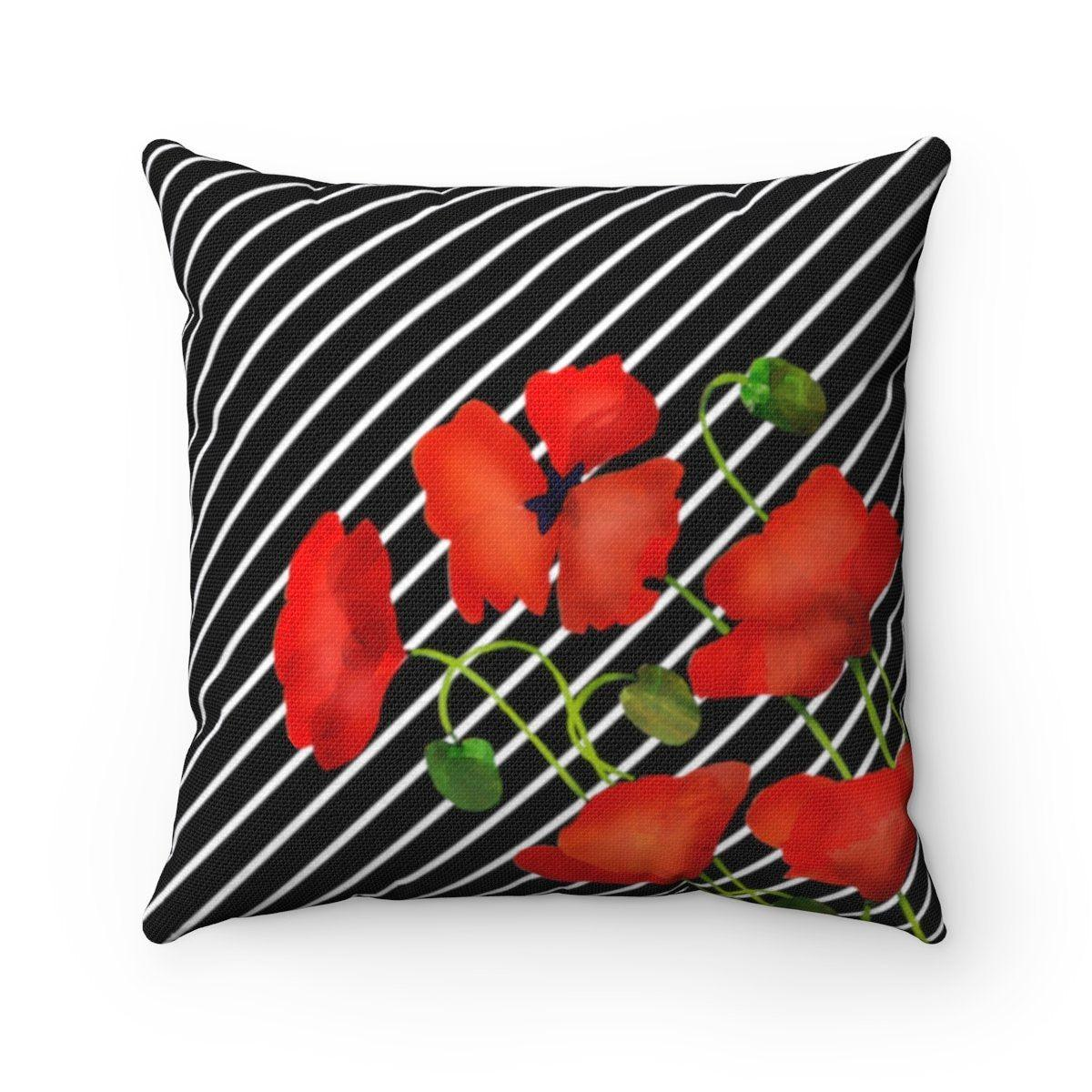 Valentine Floral Striped decorative cushion cover-Home Decor - Decorative Accents - Pillows & Throws - Decorative Pillows-Maison d'Elite-14x14-Très Elite