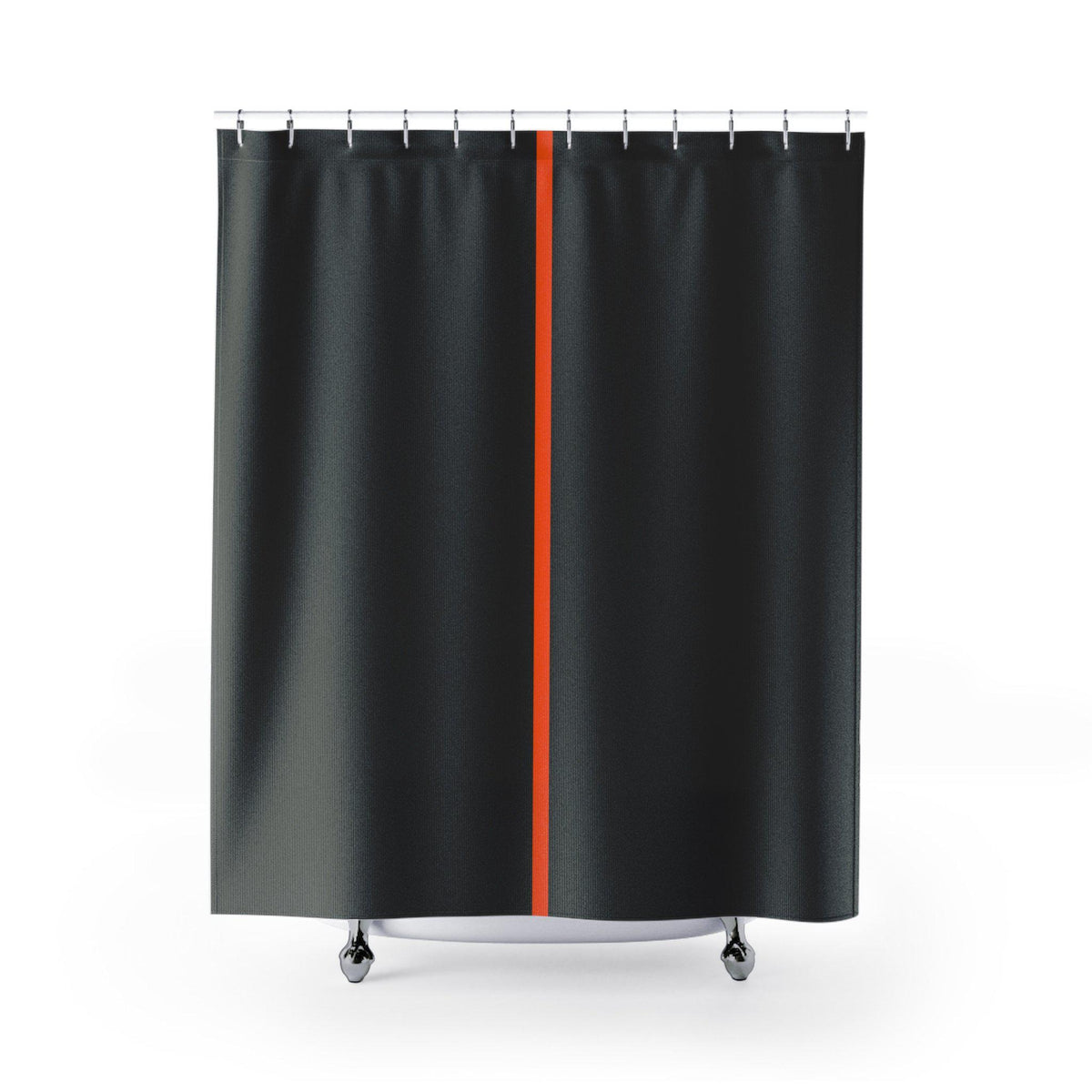 Vertical line contemporary shower curtain-Bath - Bathroom Accessories - Shower Accessories - Shower Curtains-Maison d'Elite-71x74-Black/Orange-100% Polyester-Très Elite