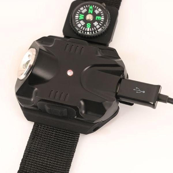 Super Bright LED 5-Mode Wrist Flashlight with Compass