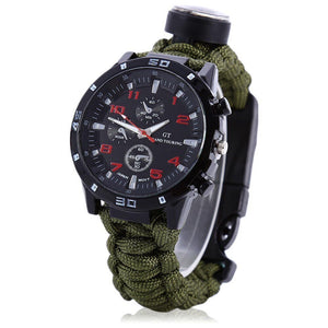Paracord Survival Bracelet Wrist Watch With Compass