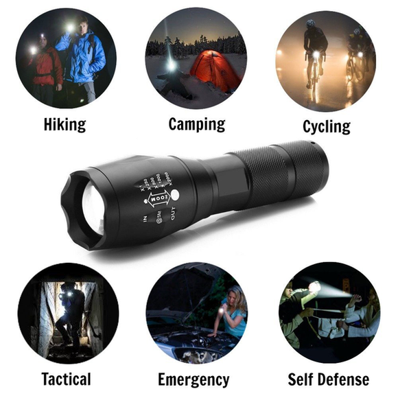 4000 Lumen Tactical Zoomable LED Flashlight