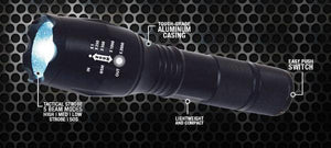 9000 Lumen Tactical Zoomable LED Flashlight