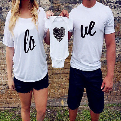 Unisex Couple T-Shirt  Adult Matching Shirts Family Match Clothes Women Men Tops