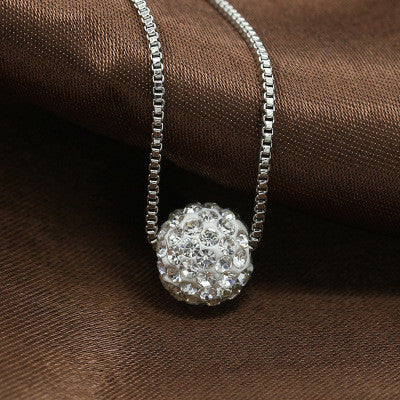 Zircon Shining Ball Necklace With Silver Chain