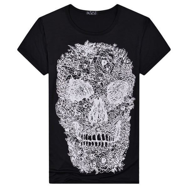 Black Skull Printed Designer Round Neck Quality T-Shirt