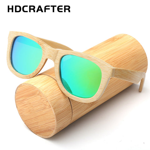 Green Blue Shining Bamboo Frame Sunglasses