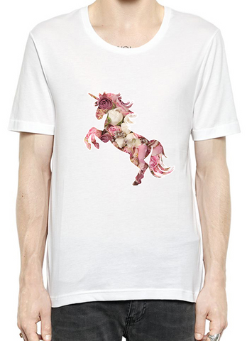 Purple Pink Flower Unicorn Quality T-Shirt