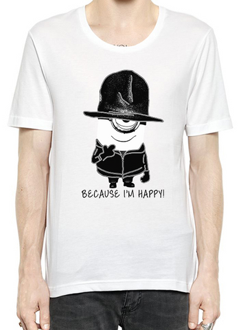 Black Minion Curvy Words Because I'm Happy T-Shirt