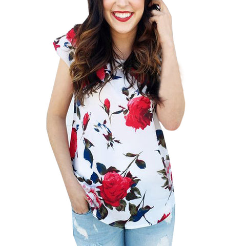White Red Flower O-Neck T-Shirt