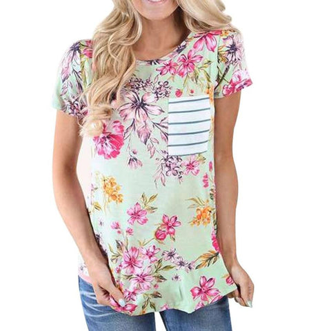Greeen Pink Floral Autumn T-Shirt Blouse