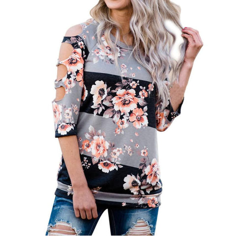 Gray Black Orange Floral Long Sleeve T-Shirt