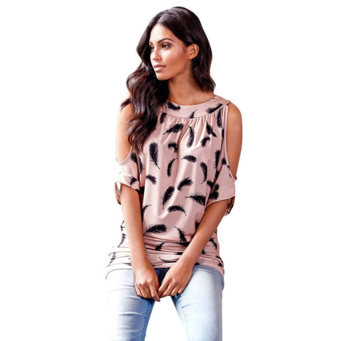 Feather Printed Casual Off Shoulder Blouse Top