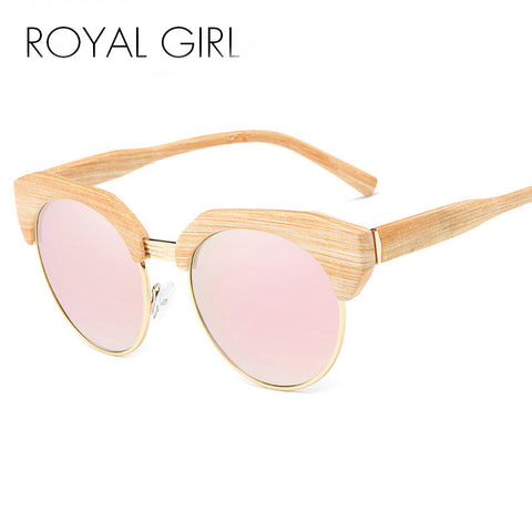 Pink Half Frame Wood Cat Eye Sunglasses For Women