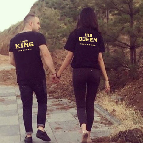 The King Queen Curvy Letters Couple Tee