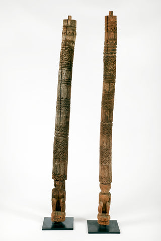 PAIR OF CARVED ANTIQUE PILLARS