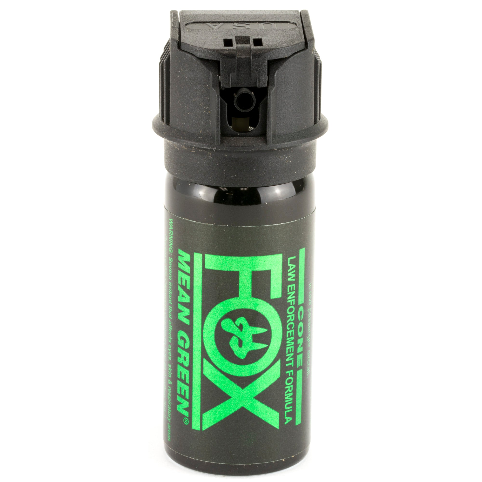 PS Fox Labs Mean Green Tactical Police 1.5oz Flip-Top Fog Pattern Pepper Spray