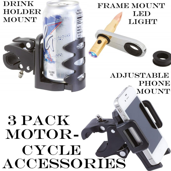 3 Pack Accessories Phone Mount + Drink Holder + LED Light - Fit Most Motorcycles