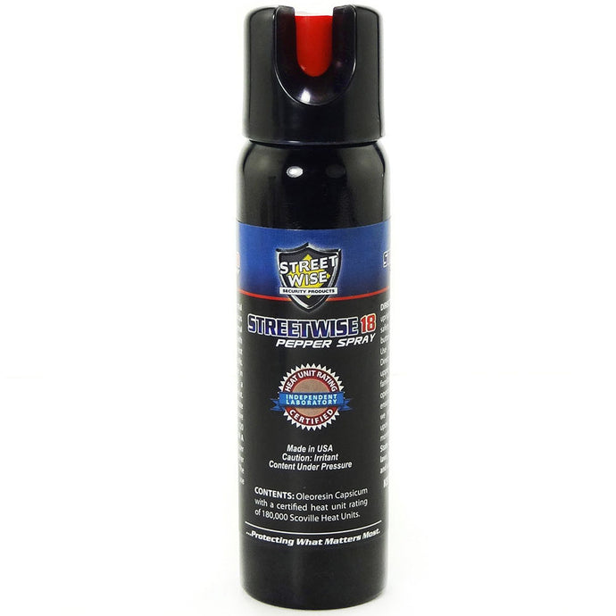 Lab Certified 4oz Streetwise 18 Police Pepper Spray, Twist Lock & UV Marking Dye