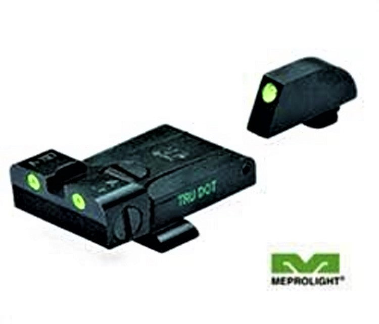 Meprolight ML20224 Tru-Dot Self Illuminated Adjustable Sight Set Fits GLOCK 9mm, 357 SIG, 45 GAP, & 45 S&W - Green/Green