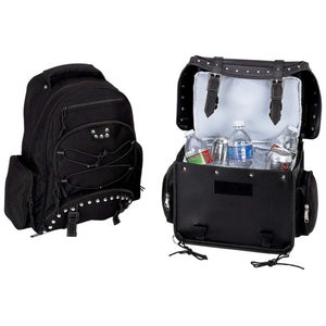 Diamond Plate 2pc Heavy-Duty PVC Motorcycle Cooler Bag and Backpack
