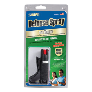 SABRE 3-IN-1 Jogger/Runner Pepper Spray + Tear Gas + UV Identifying Dye - BLACK