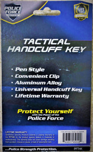 Police Force Tactical Universal Handcuff Key w/ Pocket Clip - Lifetime Warranty