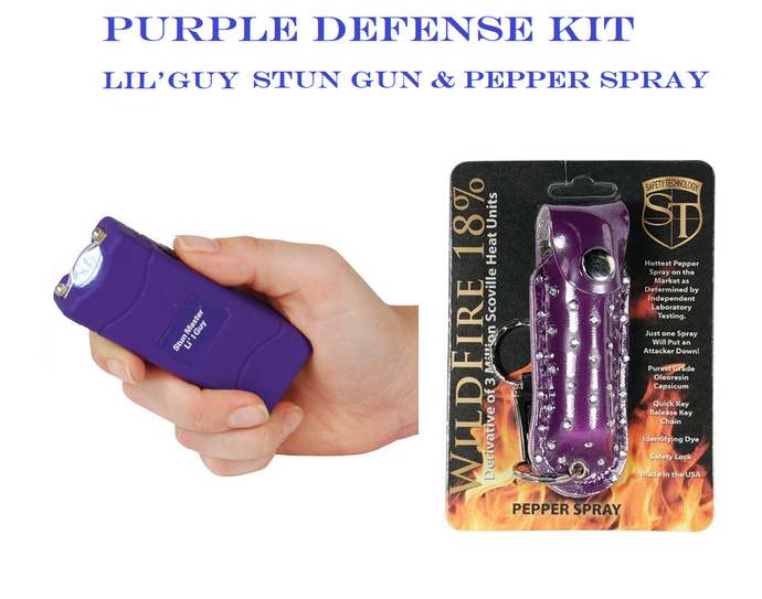 PURPLE DEFENSE KIT - Purple LIL'GUY 12,000,000 Stun Gun & Purple Pepper Spray