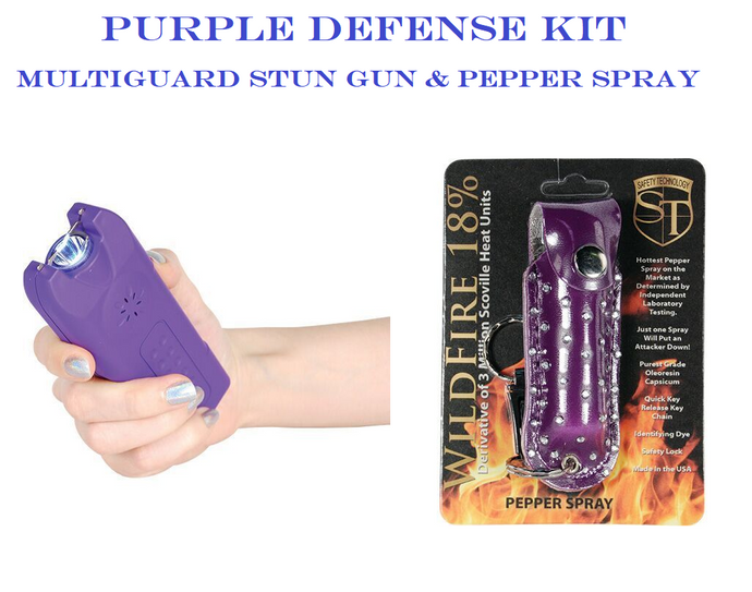 PURPLE DEFENSE KIT - Purple MultiGuard 20,000,000 Stun Gun & Purple Pepper Spray