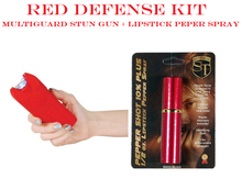 RED DEFENSE KIT - Red Multiguard 20,000,000 Stun Gun & Red Lipstick Pepper Spray
