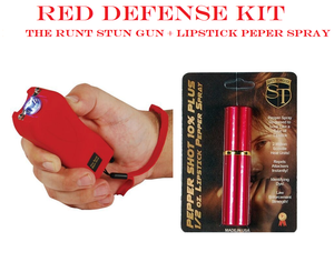 RED DEFENSE KIT - Red RUNT 20,000,000 Stun Gun & Red Lipstick Pepper Spray