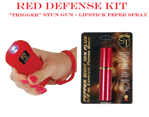 RED DEFENSE KIT - Red TRIGGER 18,000,000 Stun Gun & Red Lipstick Pepper Spray
