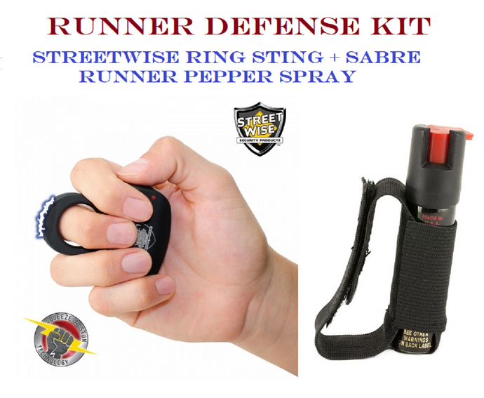 BLACK Jogger Defense Kit - Streetwise Sting Ring + Sabre Runner Pepper Spray